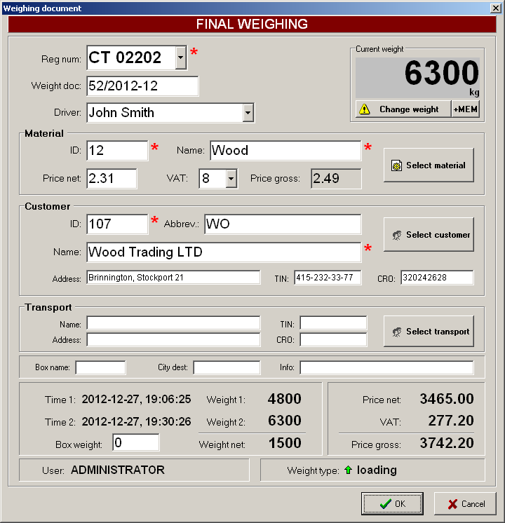 Software for scales, truck scales software, electronic